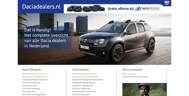 Dacia Dealers - webdesign by ABCwebsites