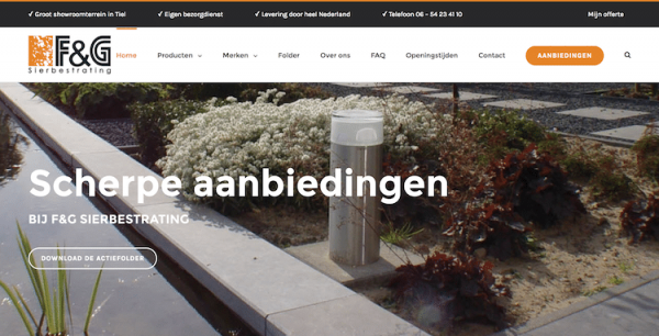 F&G Sierbestrating - webdesign by ABCwebsites