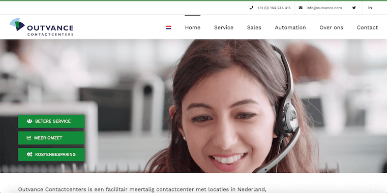 Outvance Contactcenters - webdesign by ABCwebsites